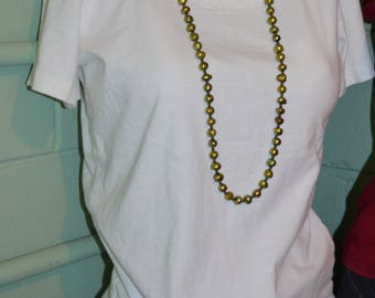 Necklace Pearls & Leather, Fresh Water Pearl Necklace, Pearl Necklace, Long Cultured Pearl Necklace, Pearls and Leather Necklace