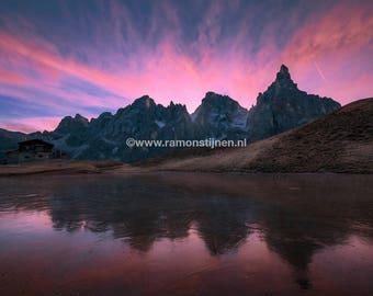 Dolomites,Italy,Tirol,Landscape,landschap,mountains,sunrise,lake,europe