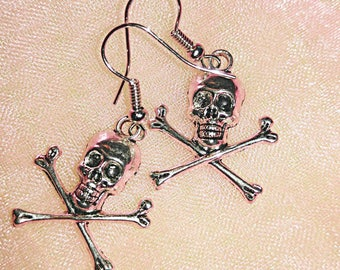 Halloween SALE, Skull and Crossbones, Skull Earrings, Skeleton Earrings, Pirate Jewelry, Halloween Earrings, Pirate Earrings