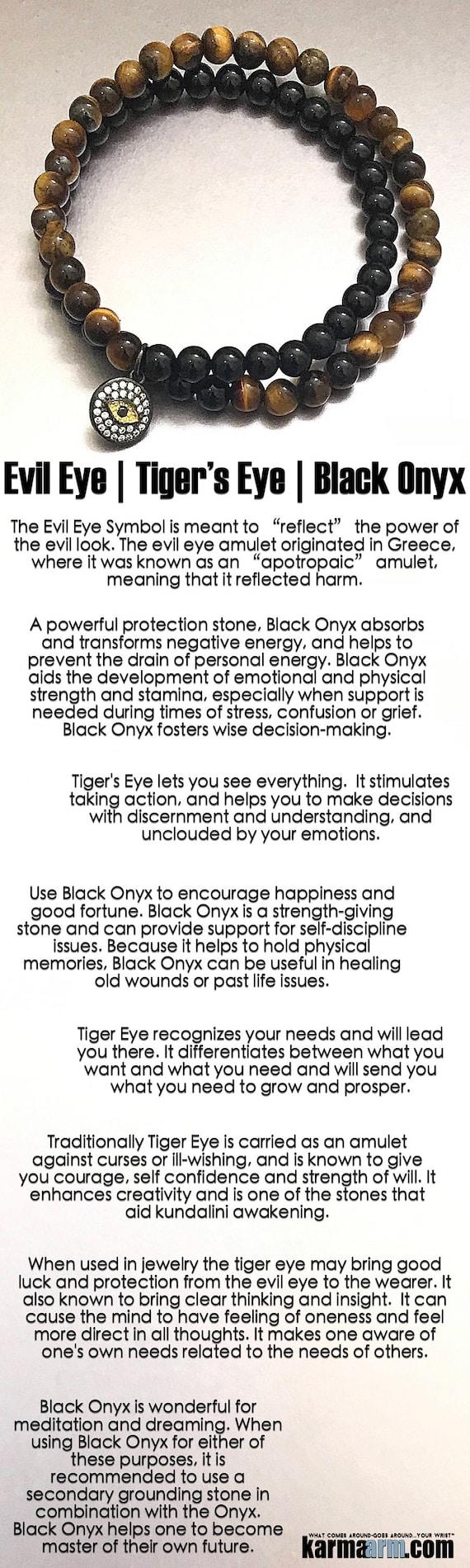 Protection black onyx tiger eye evil eye yoga beaded protection black onyx tiger eye evil eye yoga beaded charm bracelet chakra energy healing mala reiki meditation stretch jewelry biocorpaavc