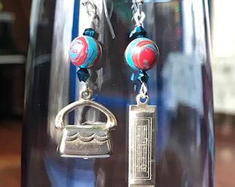 CindysArts Purse and Harmonica charm earrings