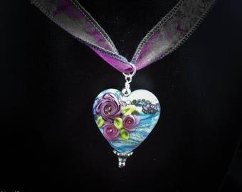 Handmade Italian Glass Heart Pendant on Handmade Sari Silk Necklace - Three Roses