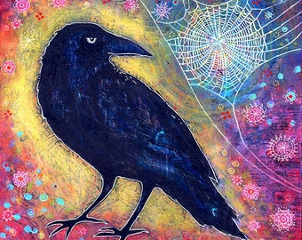 Raven Canvas Print. Raven Artwork. Spiderweb Print. Titled Mr. Raven, Meet Miss Web. Mystical Art. Whimsical Bird Art. Unique Gifts for Her.