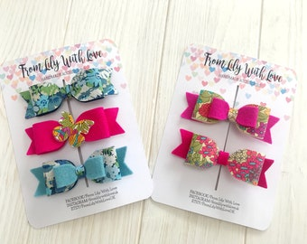 SALE Ready To Ship Girls floral hair bows clip set of 5 handmade from Liberty London Tana Lawn Fabric and 100% wool felt brights pink blue