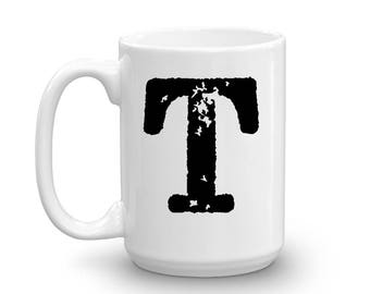 Initial Mug - Letter T - 15oz Ceramic Cup - Granddad Gift Mug - Right-Handed or Left-Handed Mug - Gift for Man