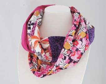 Pineapples scarf, infinity scarf, Patchwork scarf, women gift, cotton scarf, pink scarf, gift for her, scarf with hibiscus, Hawaien, Tiki