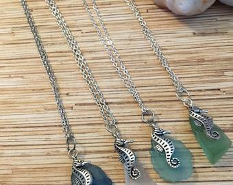 Seahorse Glass Pendant Necklace