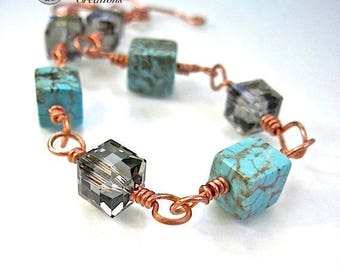 Aqua Turquoise Stone Bracelet, Matrix Gemstone Cube, Howlite, Black Diamond Crystal, Beaded Copper Links, Wire Wrapped Toggle Clasp B134