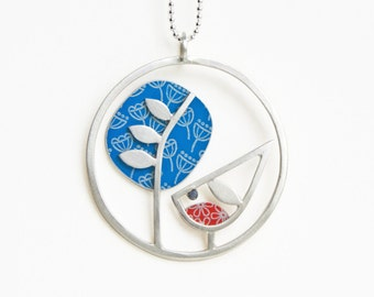 Robin and tree necklace