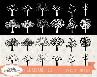 BUY 2 GET 1 FREE Tree silhouettes clipart - tree silhouette clip art - Commercial Use Ok