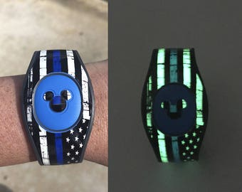 Glow in the Dark Magic Band 2 Decal | Thin Blue Line MagicBand 2 Skin | Magic Band 2.0 Skin | RTS Ready To Ship | Police Lives Matter Decal