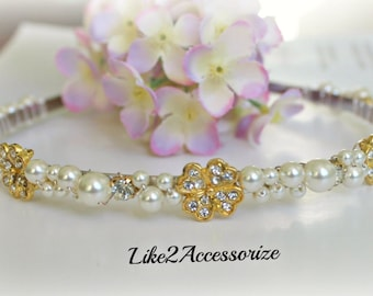 Swarovski Pearl Headband Bridal Tiara Headband Wedding Jewelry Bridal Head Piece White Gold Rhinestones Bridesmaid Wedding Beaded Headband