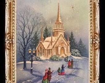 Vintage Winter Church Scene Miniature Dollhouse Art Picture 6897