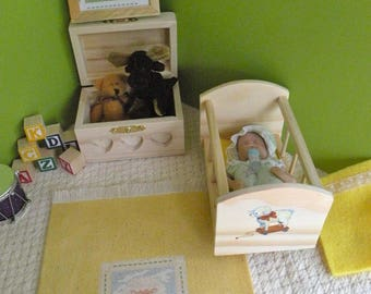 Barbie Baby, Rocking Cradle,  Framed Art and Rug 1:6 scale
