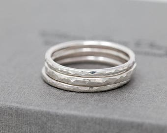 Sterling Silver Ring Set|Hammered Rings|Textured Rings|Sterling Silver Textured Rings|Dimpled Rings|Hammered Silver Rings|Silver Ring Set