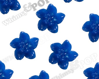 10 - Royal Blue Lily Flower, Flower Cabochons, Lily Cabochon, 13mm x 13mm x 5mm (R2-091)