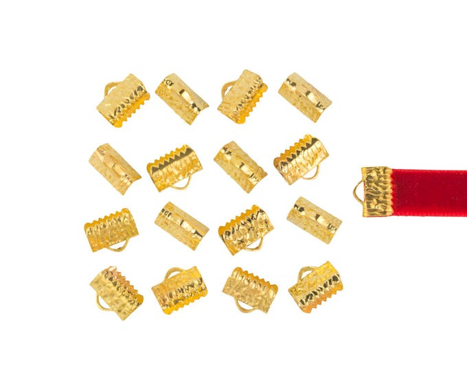 10mm  (3/8 inch)  * 150 pieces *  Ribbon Clamp End Crimps - with or without loop - Silver, Gold, Gunmetal, Bronze, Copper - Artisan Series