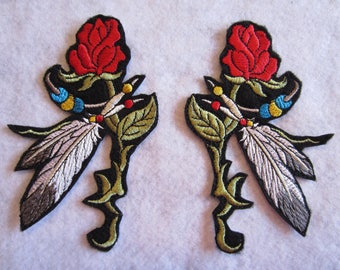 Embroidered Southwestern Rose And Feathers Iron On Patch, Rose And Feather Patch, Southwest Patch, Southwestern Applique, Feather Patch,