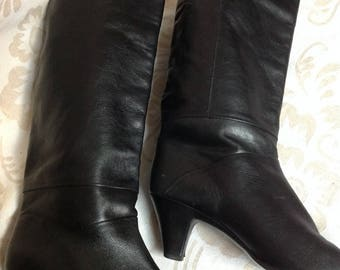 80s Slouch Boots Black Pointed Toe Boots Heeled US 7,5 EU 38 UK 6