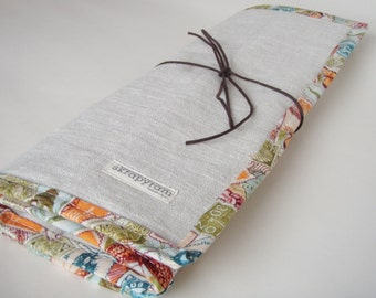 Linen Knitting Needle Case/ Knitting Needle Roll