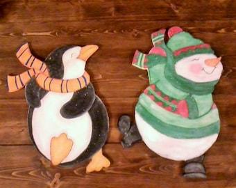 Handmade Wooden Snowman Sign, Handmade Wooden Penguin Sign, Snowman Sign, Penguin Sign, Handmade Christmas Sign, Winter Sign