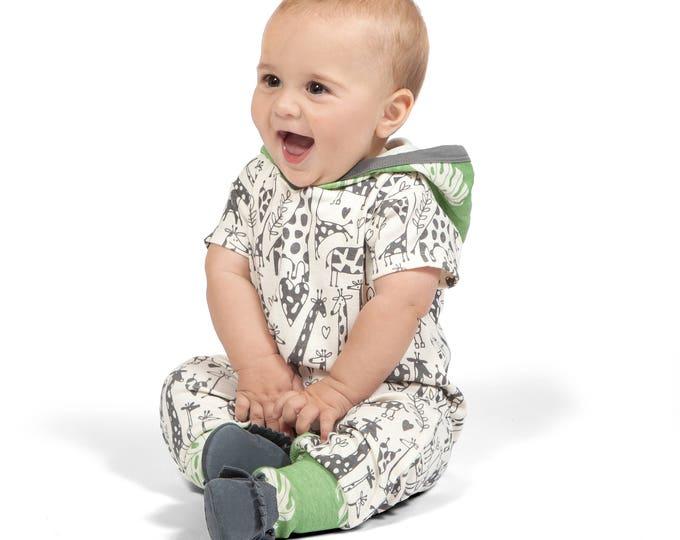 SPRING SALE! Baby Boy Hoodie Romper, Baby Hoodie Onesie, Baby Boy Hoodie, Newborn Baby Hooded Romper, Baby Giraffe Hooded Onesie Tesa Babe