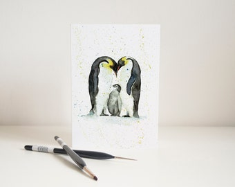 Watercolour Family of Penguins Greetings Card