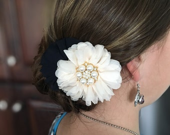 Navy and cream hair flower, cream flower with pearl and rhinestone center on a smooth alligator clip