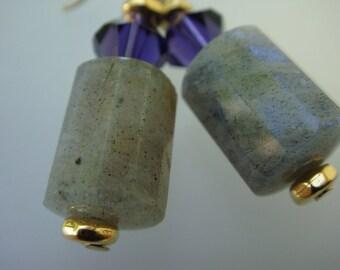 LABRADORITE BARREL Earrings
