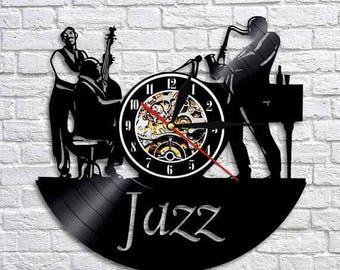 Jazz Music Gift Vinyl Record Wall Clock