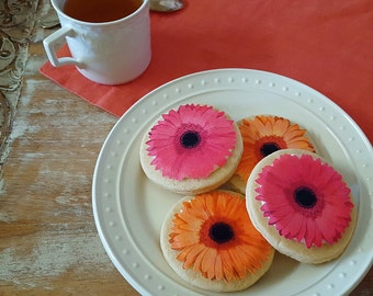 Edible Gerbera Daisy Cake, Cupcake & Cookie Toppers - Wafer Paper or Frosting Sheet
