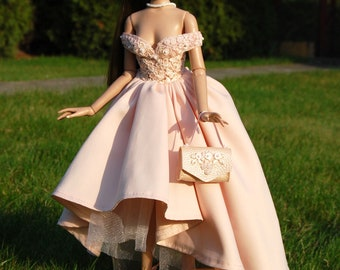 "Couture Dress and pearl bead necklace for Tonner Antoinette 16"" or similar body size Dolls by April Seven"