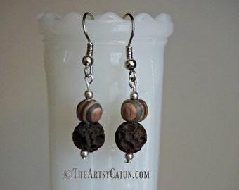 Essential Oil Diffuser Jewelry- Brown Lava Rock & Striped Amber Wood Minimalistic Earring