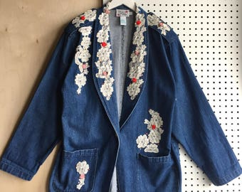 90s Unique Lace Sequins Ribbon Rose Embroidery Studded Loose Fit Oversized Denim Jeans Jacket