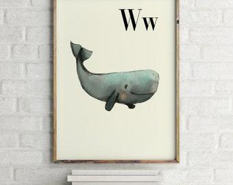 Whale print, nursery animal print, alphabet cards animals, alphabet letters, abc letters, alphabet print, animals prints for nursery