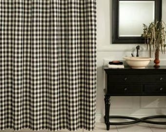 Black Gingham Check Curtains   Plaid Curtains   Country Curtains   Checked  Drapes   Curtains