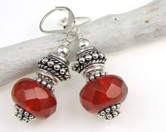 Red and Silver Earrings - Chunky Beaded Silver and Red Jewelry - Valentine's Day Gifts for Women  with Sterling Silver Leverback Earrings