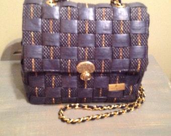 Purse in Navy and gold rattan, Alma Tonutti Italy Handbag, rattan bag, purse rattan