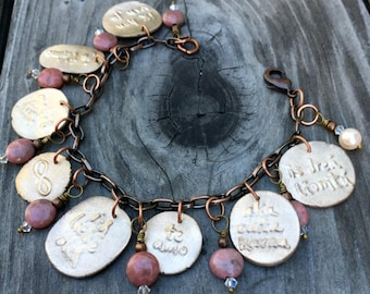 Ways to Say I Love You Charm Bracelet handmade bronze with rhodochrosite and Swarovski crystal love in multiple languages