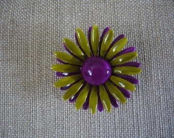 Flower Pin Brooch - Purple and Green Flower Pin - Vintage Metal Flower Brooch