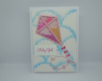 Baby Girl card, Handmade, New Baby card, Pink Flying Kite Shaker card, It's a Girl card, Kite and Clouds card, Flying Card