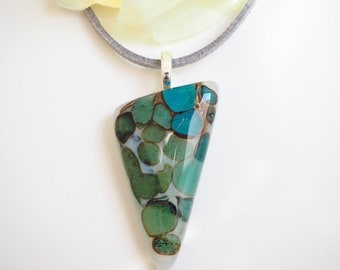 Glass Pendant Necklace - Organic Green Fused Glass - Stone Effect Glass Jewellery - Green Turquoise Handmade Necklace - EP 713
