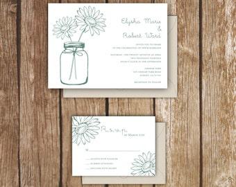 Daisy & Mason Jar Wedding Invitation - A7 - Rustic Wedding