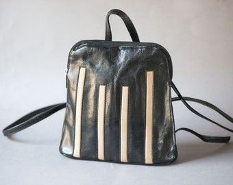 Black Genuine Leather Backpack Small Vintage. White stripes Leather Backpack. Women leather rucksack. Festival Backpack Gift Hipster Daypack