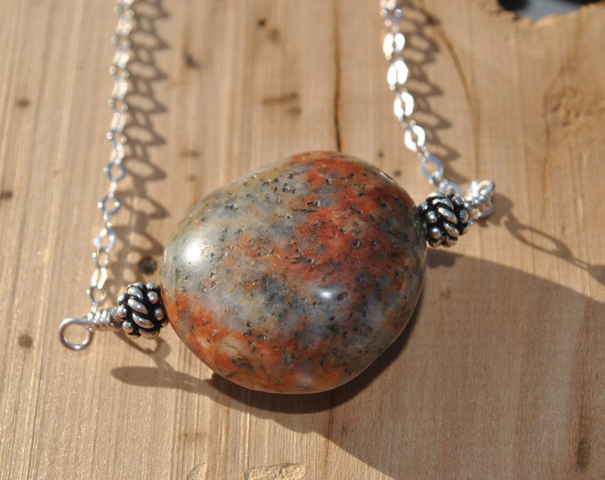 Lake Michigan beach stone on Sterling Silver chain necklace  boho, minimalist, simple