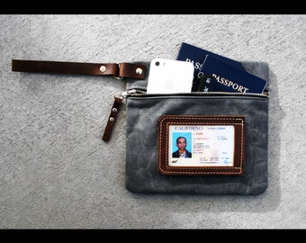 Zippered waxed canvas Pouch with leather accents by AlexMLynch - made in USA