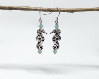 Seahorse Earrings, Kissing Sea Horse Earrings Accented w/ Aqua Swarovski Crystals on Stainless Steel Ear Hooks, Seahorse Jewelry, Sea Horses