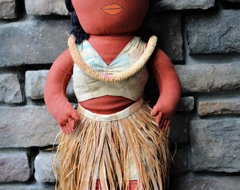 On Sale!! Vintage HAWAIIAN HULA SOUVENIR Cloth Doll with Grass Skirt 21""
