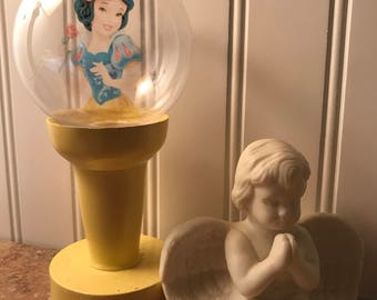Snow White Lighted wood photo globe