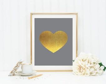 Grey and Gold Heart Instant Download Heart Wall Art Office Decor Dorm Wall Art Apartment Decor